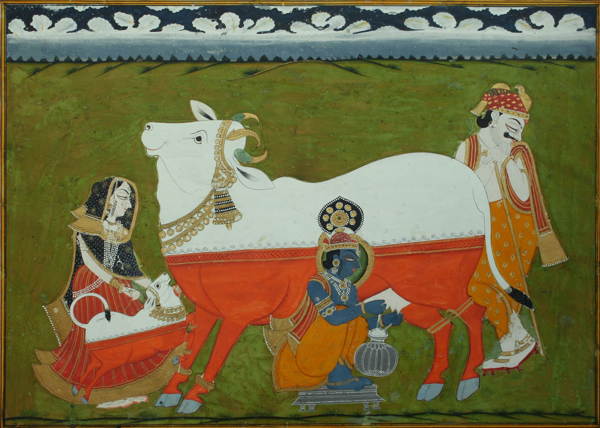 Krishna milking Cow, accompanied by parents Yashoda and Nanda - Marwar, c.1840-60