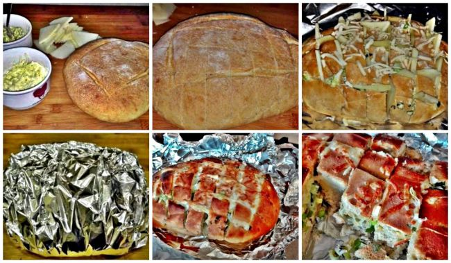 Preparación del pan relleno de cebollino, queso y mantequilla