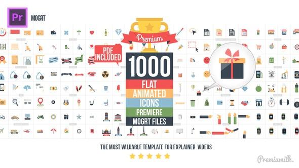 قالب ادوبي بريمير 1000 أيقونة فلات متحركة احترافية