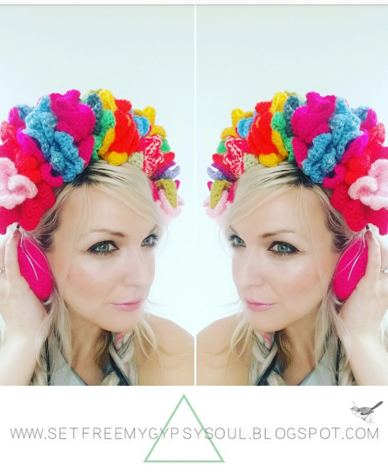 crochet flower crown bohemian hippie fashion free pattern earphones headphones