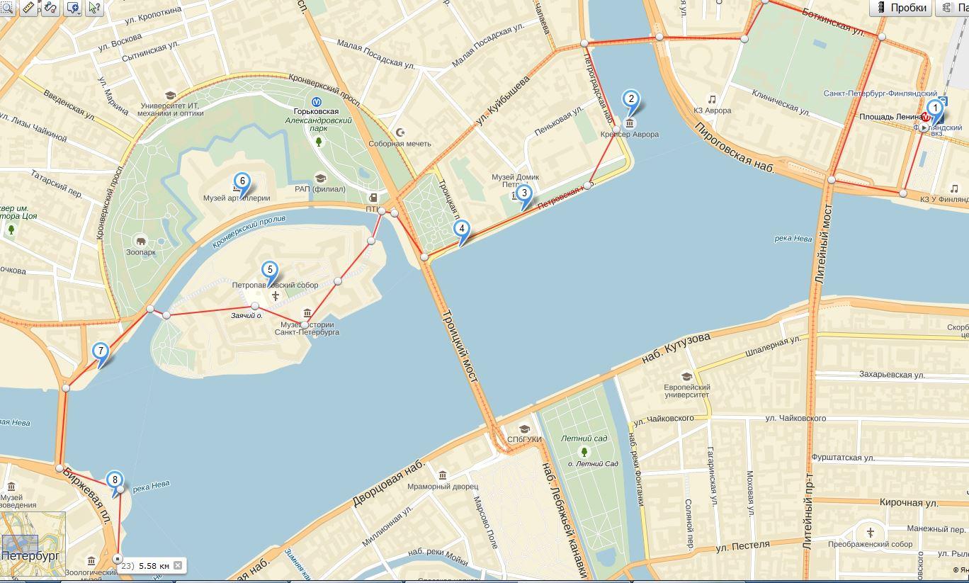 Карта пеших прогулок по Санкт-Петербургу фото
