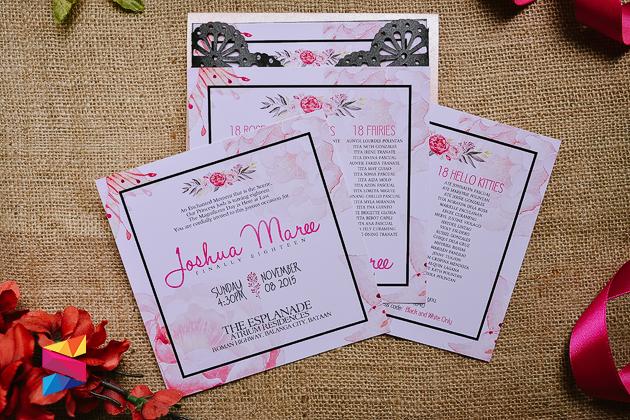 Josh gatefold intricate debut invitation stunro creativeworks theme motif floral hot pink black stopboris Choice Image