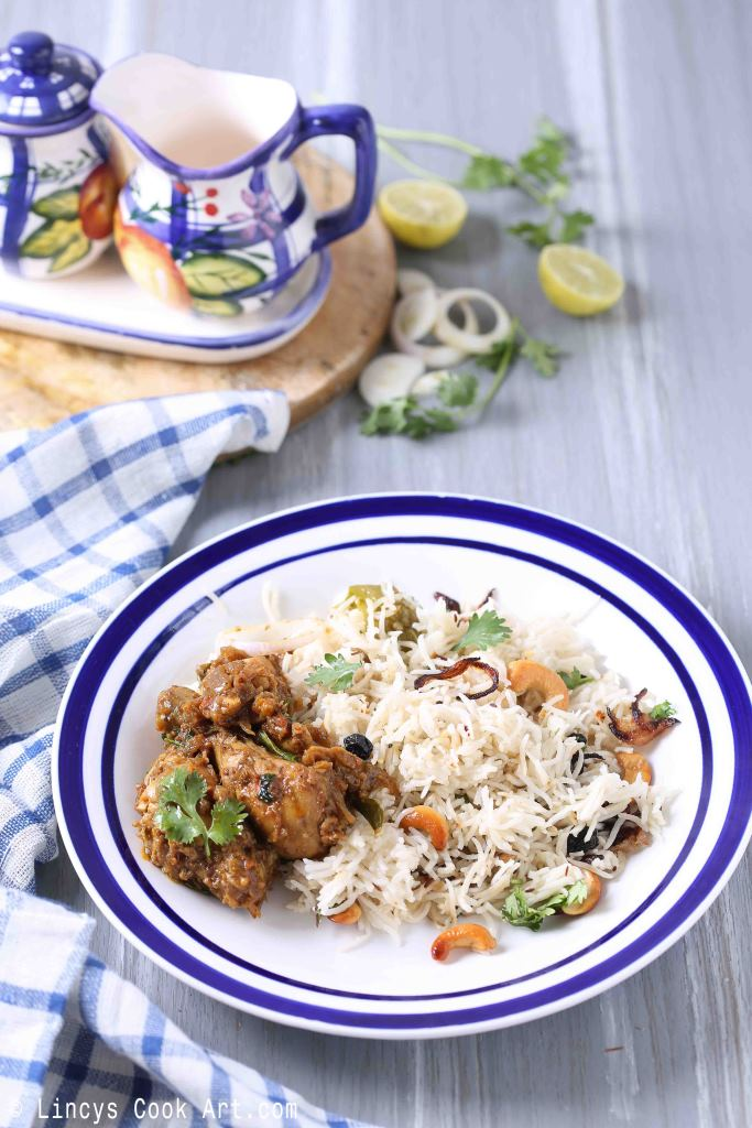 Ghee rice and pepper chicken