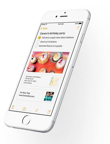 Gambar tampilan fitur Notes terbaru pada iOS 9 terbaru