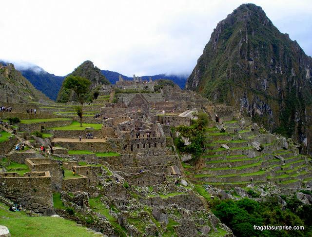 Visão geral de Machu Picchu e montanha Wayna Picchu