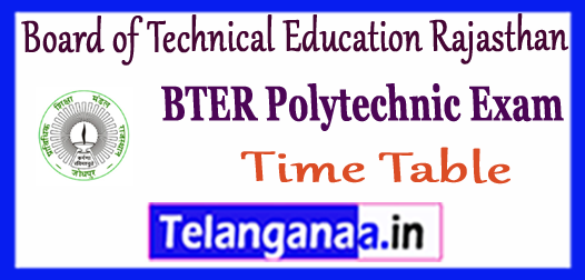 BTER Board of Technical Education Rajasthan Diploma Exam Date Time Table 2018
