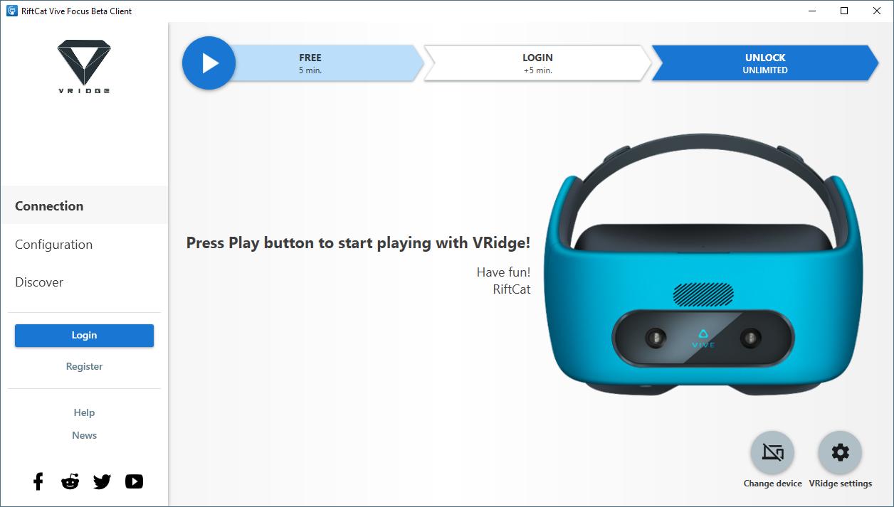 RiftCat: Dev Update #40 - VRidge Beta for HTC Vive Focus headset