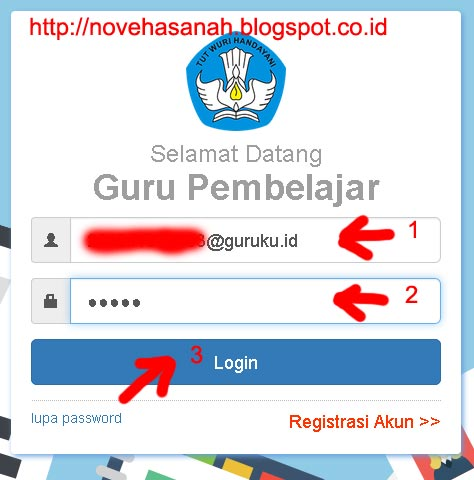 isi email/user name dan kata kunci (password) untuk login pada cara registrasi dan login guru pembelajar online kemdikbud 8