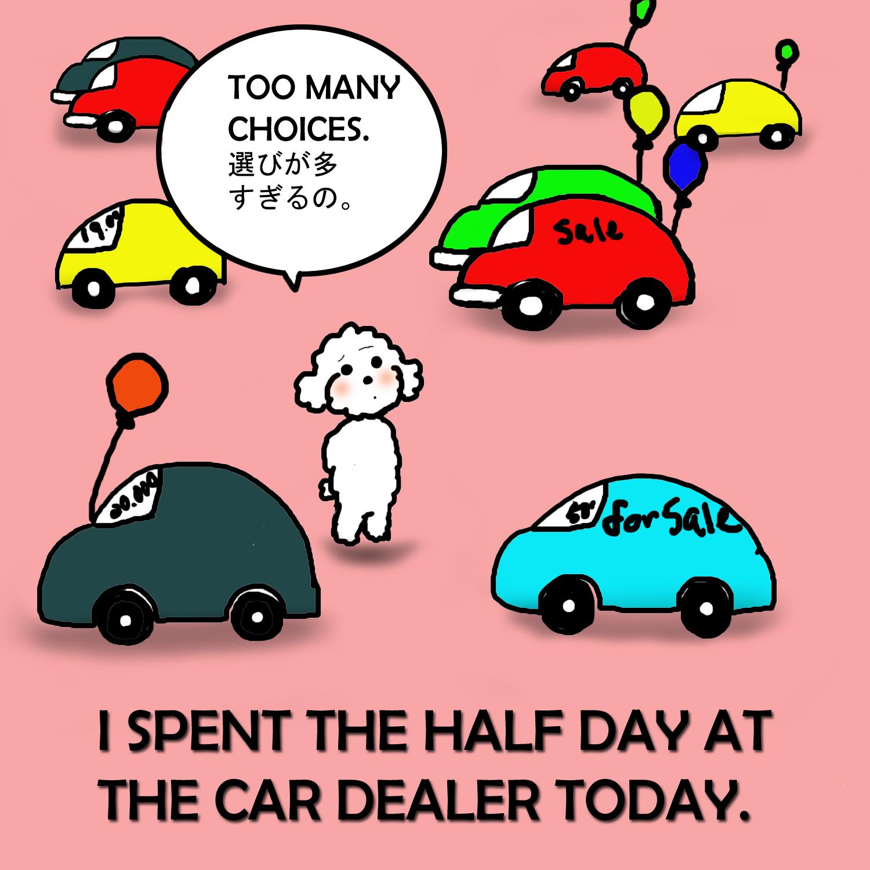 マンガで英会話 no 51 i spent the half day at the car dealer today