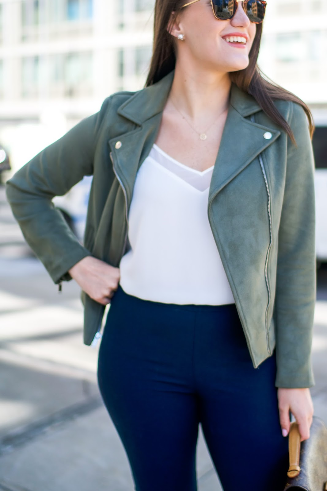 Old Navy Suede Moto Jacket by popular New York fashion blogger Covering the Bases