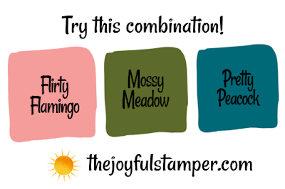 Flirty Flamingo, Mossy Meadow, Pretty Peacock color combination