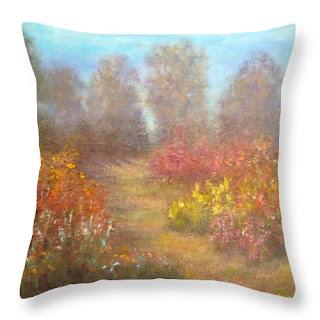 Colorful flower garden throw pillow