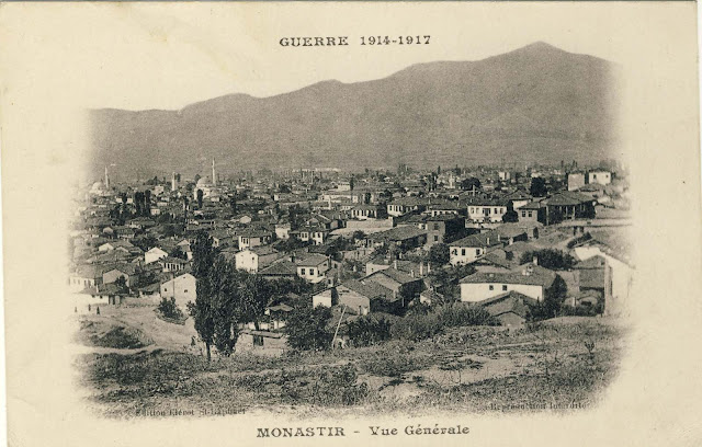 """Panorama of Bitola from """"Smilevski Bair"""" from 1917 by the publisher Clerot St.Raphael. In the background is Baba mountain with peak Neolica. From the higher buildings on the left can be seen Isak and Yeni Mosque, and the Cock Tower between them. The postcard was not used."""