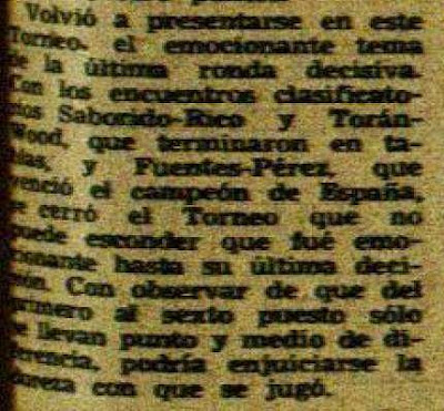 Recorte del artículo de Jorge Puig sobre el II Torneo Internacional de Ajedrez de Avilés 1948
