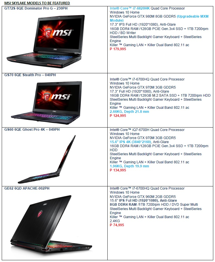 MSI Skylake laptops
