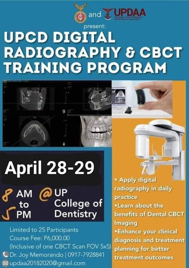 The UPCD DIGITAL RADIOGRAPHY & CBCT TRAINING PROGRAM APRIL 28-29, 2019