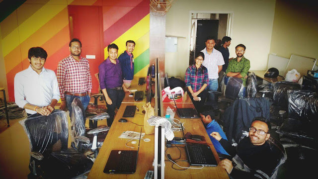 Image Attribute: The ibOts team's first-day at Anaha Innovations' newly built research and development center located at Mondeal Heights, Ahmedabad, India.
