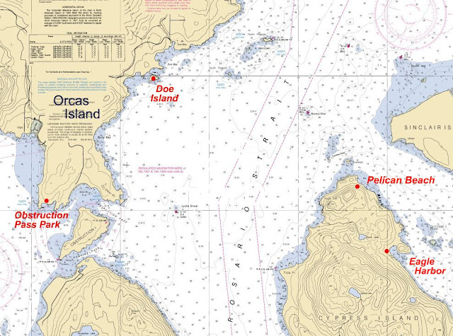 noaa chart of Doe Island, Eagle Harbor, Obstruction Pass