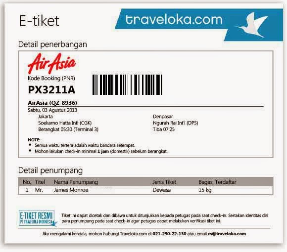 Contoh tiket pesawat online