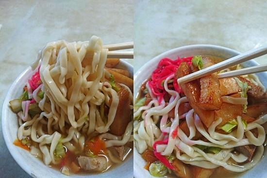 肉そばの麺とトッピングの写真