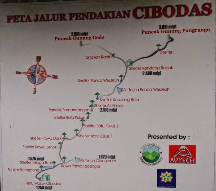 Peta jalur gede pangrango via cibodas