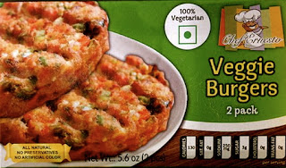 A stock image of Chef Ernesto Veggie Burgers, from Dollar Tree