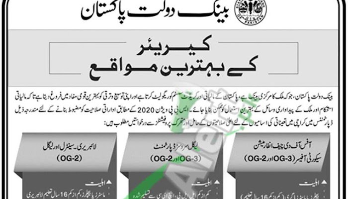 Apply in State Bank of Pakistan Jobs 2019 SBP Latest Advertisement