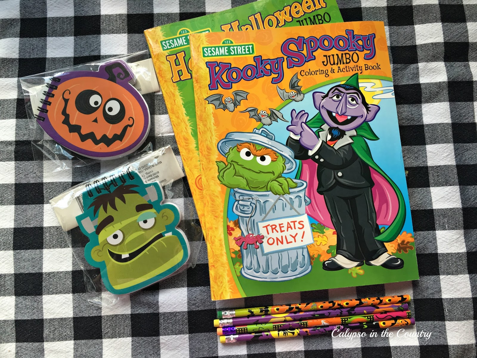 Coloring books and other creative treats for Halloween goodie bags