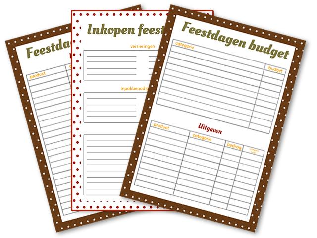 feestdagen budget bijhouden inkopenlijst