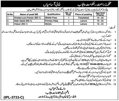 Jobs In Agriculture Department Govt Of Punjab March 2018