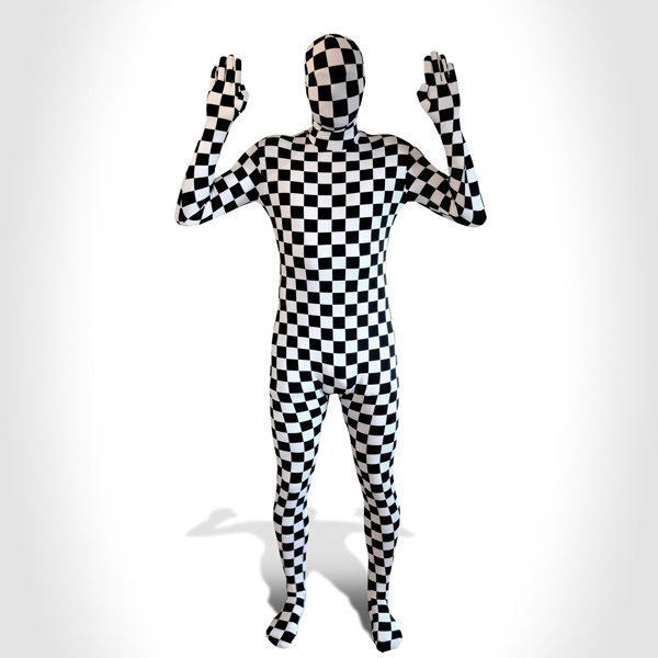 black white check Morph Suits