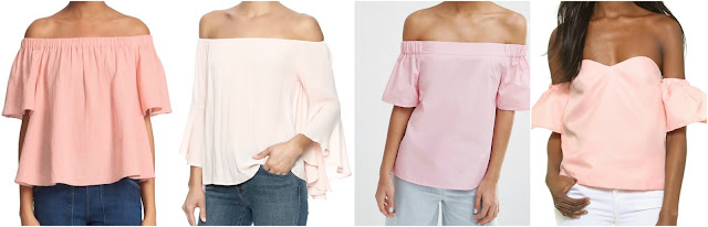 One of these off the shoulder tops is from Rebecca Taylor for $225 and the other three are under $50. Can you guess which one is the designer top? Click the links below to see if you are correct!