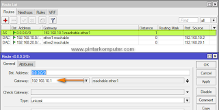 memasukkan gateway pada cara setting mikrotik sebagai router gateway internet