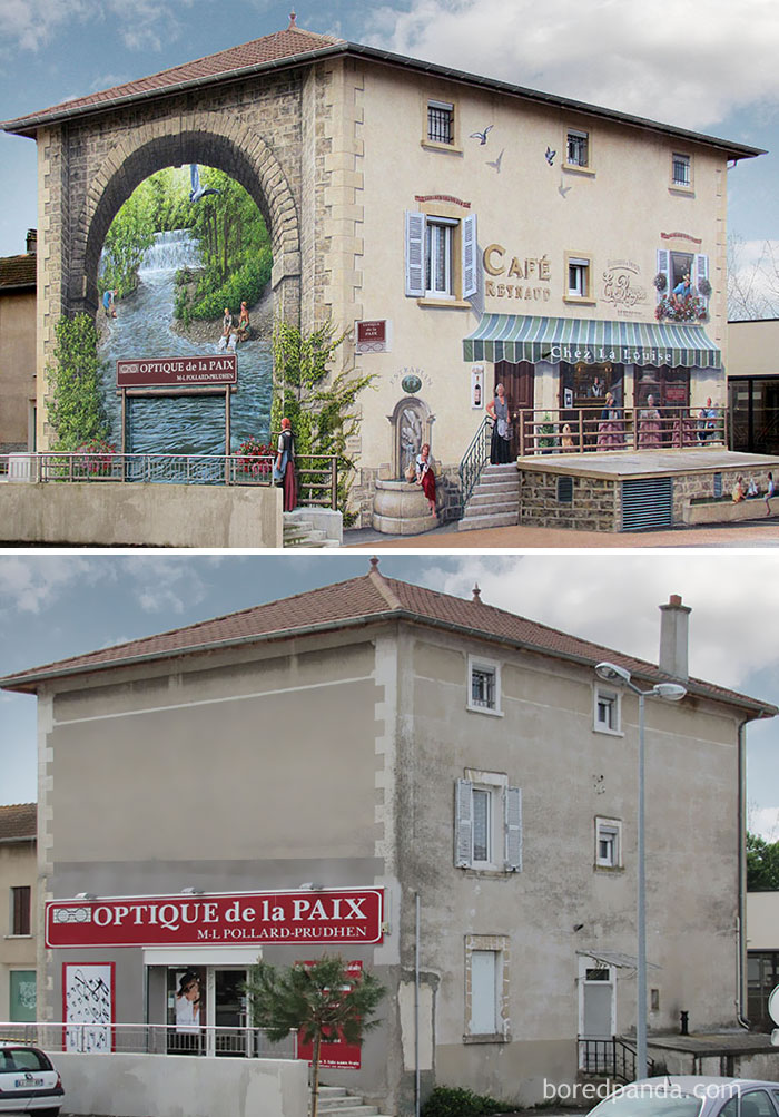 10+ Incredible Before & After Street Art Transformations That'll Make You Say Wow - Café Reynaud, Estrablin, France