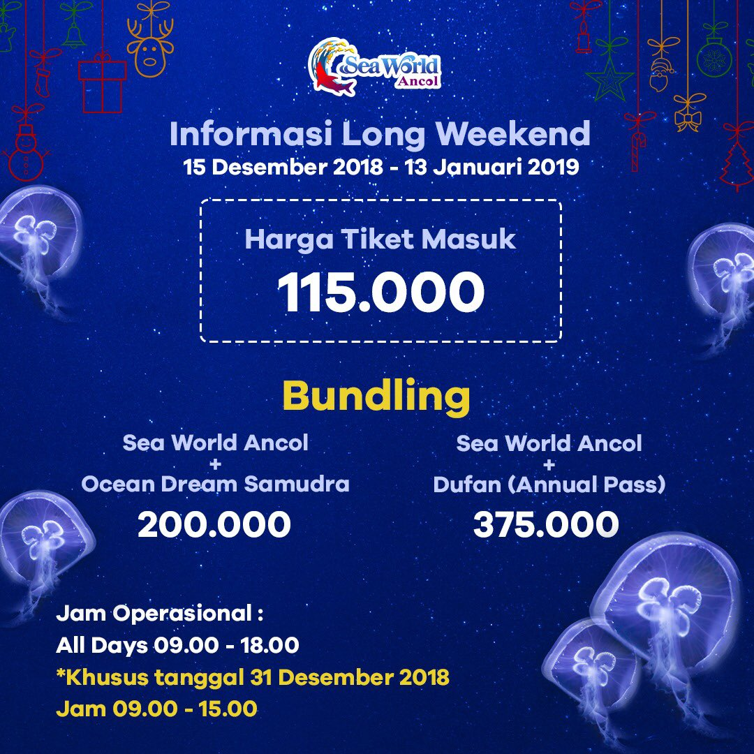 SeaWorld - Promo Tiket Masuk 115K & Bundling di Long Weekend (s.d 13 Jan 2019)