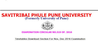 Pune University Nov, Dec 2016 Engineering Timetable