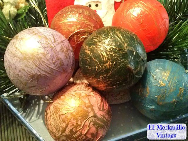 Bolas de Navidad Vintage Papel Maché