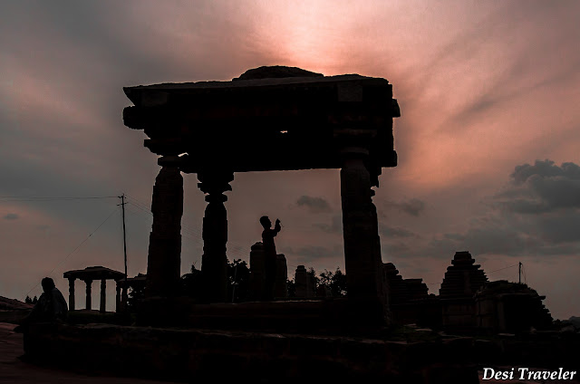 sunset in ruins of hampi i