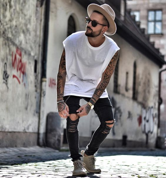 Look com camiseta oversized sleeveless masculina, tendências 2017