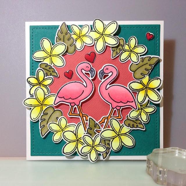 Sunny Studio Stamps: Tropical Paradise Flamingo Wreath Card by Ashlyn D