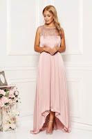Rochie Artista roz prafuit lunga de ocazie asimetrica din satin cu aplicatii cu paiete fara maneci