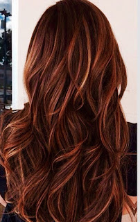 red hair with caramel highlights