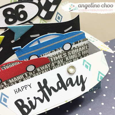 SVG Attic: Race box card with Angeline #svgattic #scrappyscrappy #boxcard #svg #cutfile #diecut #birthday #racecar #initialD