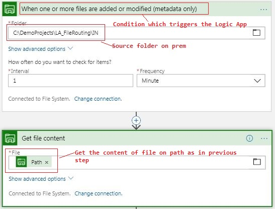 file system trigger and action
