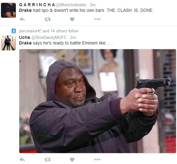 Twitter explodes on hearing that Drake is making diss track for Eminem
