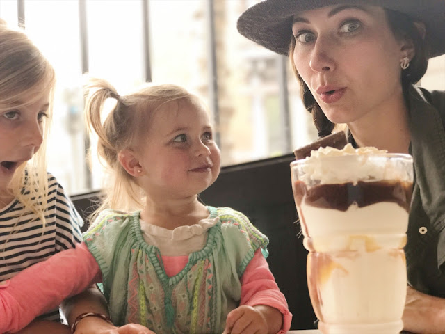 Amy West and daughters enjoy a Sundae at Ghirardelli Sundae Shop in San Francisco