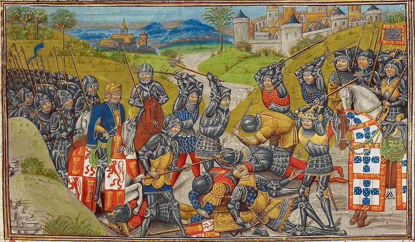 Batalha de Aljubarrota 14 de Agosto de 1385, as tropas de D. João I, comandadas pelo condestável D. Nuno Álvares Pereira, British Library, Royal 14 E IV f. 204 recto