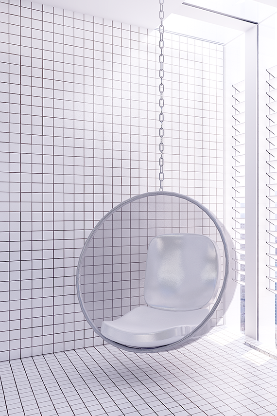Eero Aarnio Bubble Chair | Urban contemporary bathroom. Design by Eleni Psyllaki @myparadissi