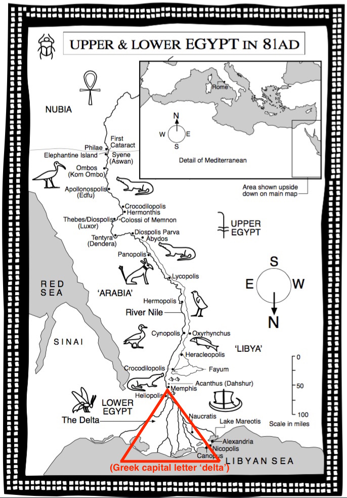 Roman Mysteries Western Mysteries Upside Down Egypt - Map of egypt with capital