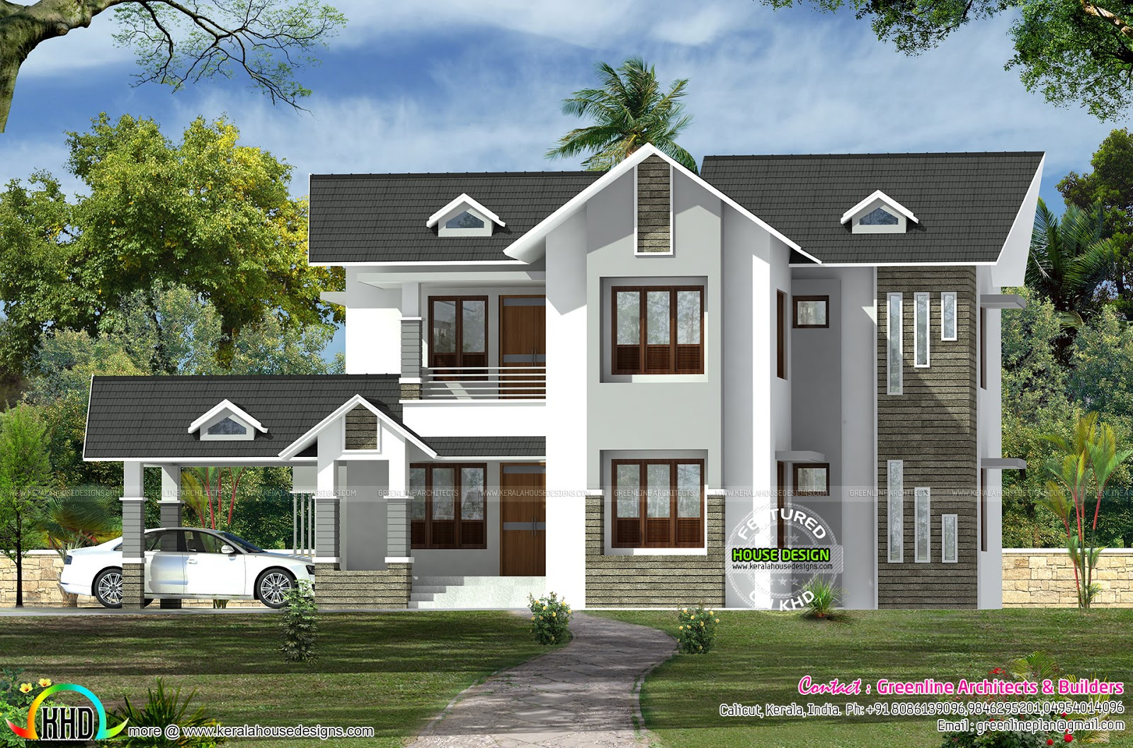 Modern Sloping Roof Dormer Window Home 3149 Sq Ft Kerala